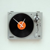 Clock made from a recycled Sanyo  turntable by pixelthis on Etsy