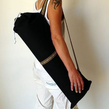 BLACK YOGA / PILATES mat bag with brown / yellow woven aztec stripe & aztec strap 100% strong cotton drill. Re-enforced stitching