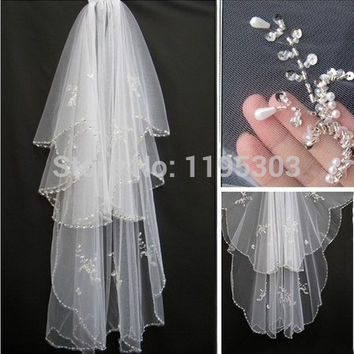 Hot Sell Sparkle 2 layers Beads Pearls White Ivory Wedding Bridal Veil With Comb For Bridal Headwear Accessories