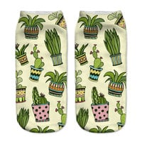 New! 3D Funny Cactus Ankle Socks For Women