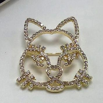 Chanel Women Fashion Cat Rhinestone Plated Brooch