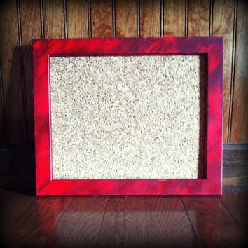 Hand Painted Wooden Framed Cork Board, Red, Crimson