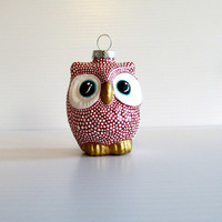 Red Owl Ornament: dotted Owl Ornament Hand Painted Glass Ornament Christmas Owl