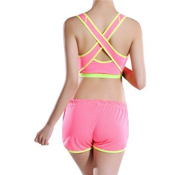 Women Lady Sports Bras Padded Athletic Vest Running Yoga Push Up Bra Seamless Solid Stretch Crop Tank Top