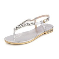VogueZone009 Womens Open Toe Low Heel Cow Leather Soft Material Solid Thong Sandals with Glass Diamond