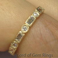 Baguette/Round Diamond Wedding Band Eternity Anniversary Ring 14K Yellow Gold  Art Deco Milgrain