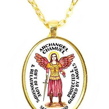 Archangel Chamuel Gift of Love and Relationships Seeker of God Huge 30x40mm Bright Gold Pendant with Chain Necklace