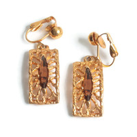 Gold Plated Filigree Topaz Glass Earrings SHP Dangle Clip On Vintage
