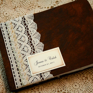 Wedding Guest Book - Rustic Guest Book - Unique Wishes - Vintage Wedding - Lace, pearls - Personalized Guest book
