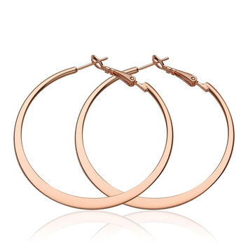 18K Rose Gold Classic New York Hoop Earrings Made with Swarovksi Elements