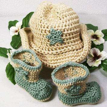 Western Hat and Boots -Baby Cowboy Gift Set in tan and Sage Green-Baby Shower Gift