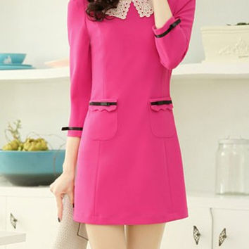 Pink Lace Pan Collar Pocketed Mini Dress