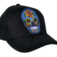 Blue Sugar Skull Hat Baseball Cap Day of the Dead Clothing