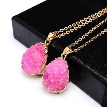 Natural healing druzy stone pendant necklace