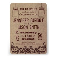 Mason Jars Rustic Country Wedding Invitations