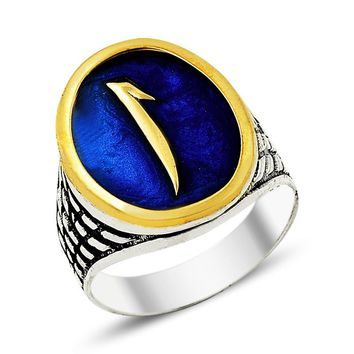 Alif letter monogram enamel sterling silver mens ring
