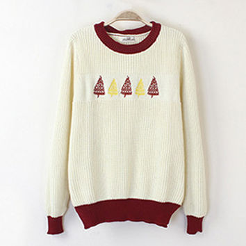 Beige Embroidered Christmas Tree Loose Sweater