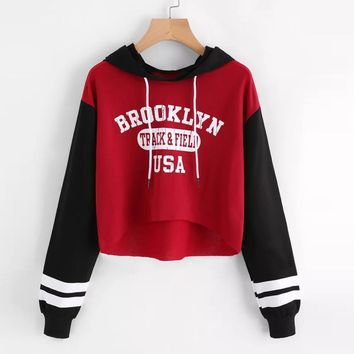 FeiTong Autumn Red Hoodie Fashion Letters Hoodies Patchwork Long Sleeve Sweatshirts Contrast Striped Crop Top Sweatshirt