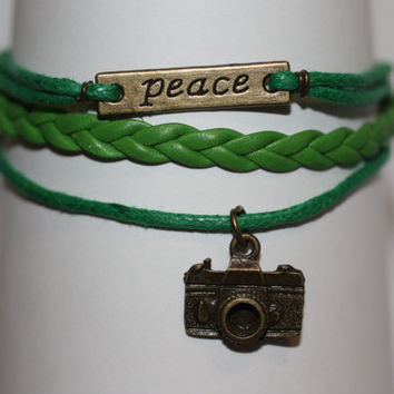 SHINE~ Handmade Peace Camera Charm Green Leather Wedding Photographer Gift Multilayer Handcrafted Bracelet ilovecheesygrits