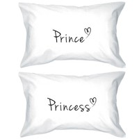 Prince and Princess Pillowcases 300 - Thread - Count Matching Couple Pillowcases