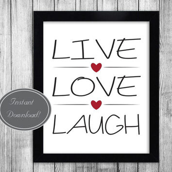 Printable Wall Art 'Live, Love, Laugh' Motivational Prints for office and home decor, instant downloadable JPEG