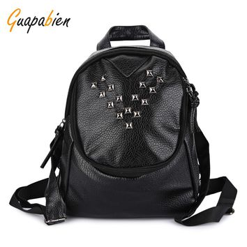 Guapabien Hip Hop Rivet Women Backpack Teenager School Book Bag Soft Patent Leather Travel Back Pack Preppy Style Rucksack