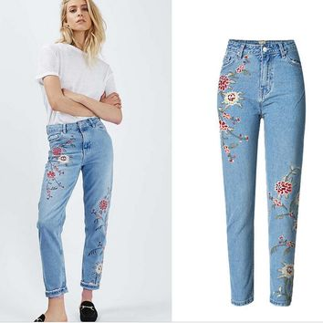 Hot sale fashion side embroidery flower show thin Nine points feet pants