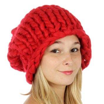 HauteChicWebstore Chunky Handknit Solid Red Beanie- www.shophcw.com