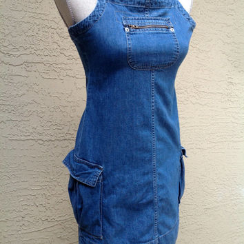 90s Grunge Vtg Ralph Lauren Polo Denim Jumper Dress Zipper Bib Cargo Pockets Strappy Size L