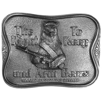 The Right To Keep and Arm Bears Antiqued Belt Buckle
