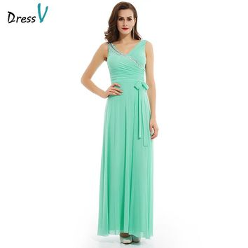 Dressv mint green crystal long evening dress elegant fashion cheap a line beading sleeves wedding party formal evening dresses
