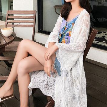 Summer  embroidered shawl thin coat holiday seaside sun protection long lace cardigan
