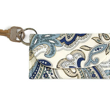 Blue Paisley Keychain Wallet, Student ID Holder and Key Ring, Dorm Room Key Ring and ID Cardholder, Free Shipping