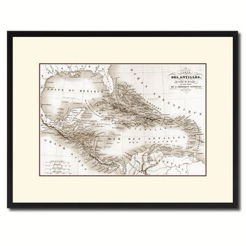West Indies Caribbean Vintage Sepia Map Canvas Print, Picture Frame Gifts Home Decor Wall Art Decoration