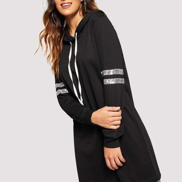Contrast Sequin Drawstring Hoodie Dress