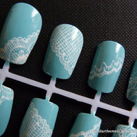 Tiffany Blue with White Lace Handpainted Nail Art