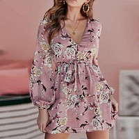 Bow Casual Women Dress Long Lantern Sleeve Party Dresses Feminino Floral Bohemian Dress