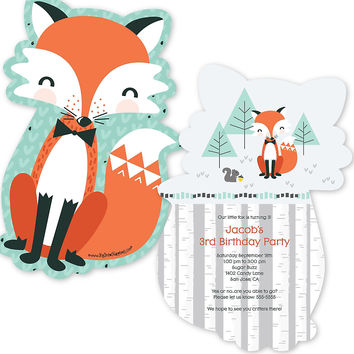 Mr. Foxy Fox - Shaped Birthday Party Invitations