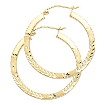 Leaf Pattern Hoop Earrings - 14K Solid Gold
