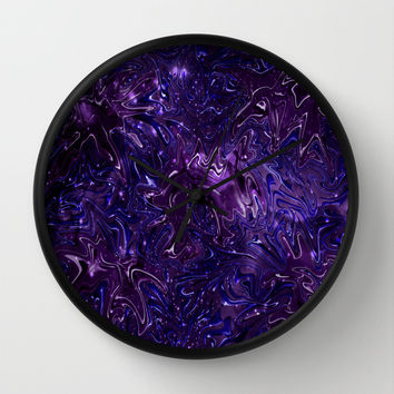 The Wolves Hidden in the Royal Purple Galaxy Wall Clock by Distortion Art