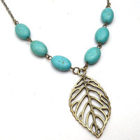 Antiqued Brass Leaf Green Turquoise Necklace by gemandmetal