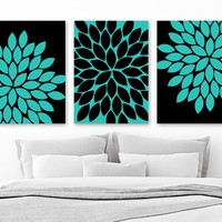 Turquoise Black Flower Bedroom Wall Decor, Flower Floral CANVAS or Print, Turquoise Black Flower BATHROOM Decor, Set of 3, Floral Wall Decor