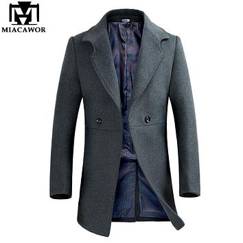 Miacawor Autumn Winter Mens Cashmere Coat Brand Clothing Slim Fit Wool & Blends Trench Coat Men Overcoat Male Jacket MJ380