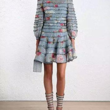 100% SILK Luxury Runway Retro Blue Floral Print Layered Havoc Pearl Beading Short Pleated Flare Dress With Long Lantern Sleeved