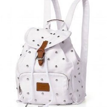 Victoria's Secret PINK MINI White Studded Canvas Backpack School Bag