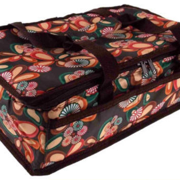 13x8 Rectangle Casserole Food Dish Insulated Travel Carry Bag Tote Brown Floral