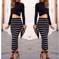 Fashion beautiful dress — HOT TWO PIECES STRIPED DRESS