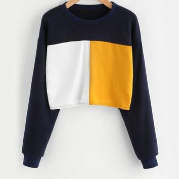 Block Sweatshirt Women Long Sleeve Patchwork Autumn Sweatshirt Pullover Casual O Neck Sweatshirt