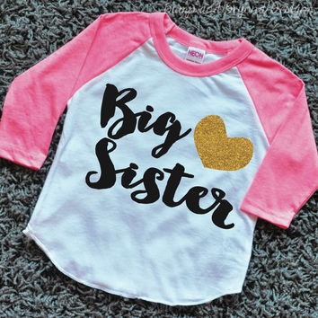 Big Sister Shirt Toddler Raglan Shirt Sibling Sister Shirt Glitter Big Sister Top Gold Glitter Heart Baby Announcement 037