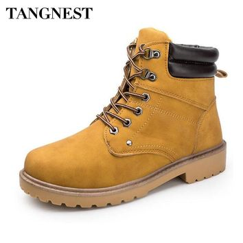 Tangnest NEW Autumn Cowboys Ankle Boots Men Vintage Split Leather Lace UP Rubber Boots Casual Thick Bottom Shoes Western Boot